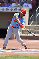 Peoria Chiefs left fielder Nick Plummer (11) swings at a pitch against the Cedar Rapids Kernels at Veterans Memorial Stadium on June 17, 2018 in Cedar Rapids, Iowa. The Chiefs won 12-3.  (Dennis Hubbard/Four Seam Images)