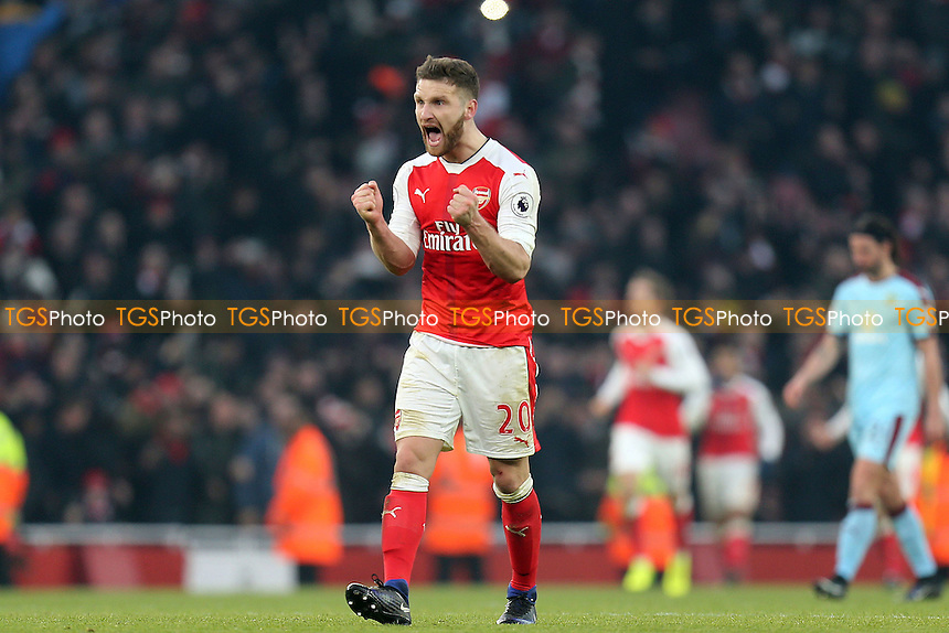 Shkodran Mustafi of Arsenal celebrates the Alexis Sanchez second goal during Arsenal vs Burnley, Premier League Football at the Emirates Stadium on 22nd January 2017
