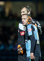 Goalkeeper Roy Carroll of Notts County with goalscorer Michael Harriman of Wycombe Wanderers during the Sky Bet League 2 match between Wycombe Wanderers and Notts County at Adams Park, High Wycombe, England on 15 December 2015. Photo by Andy Rowland.