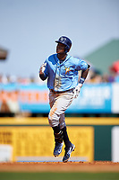 Tampa Bay Rays shortstop Tim Beckham (1) rounds the bases after hitting a home run in the top of the third inning during a Spring Training game against the Pittsburgh Pirates on March 10, 2017 at LECOM Park in Bradenton, Florida.  Pittsburgh defeated New York 4-1.  (Mike Janes/Four Seam Images)