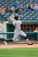Quad Cities River Bandits Jeremy Pena (1) follows through on his swing during a Midwest League game against the Fort Wayne TinCaps at Parkview Field on May 3, 2019 in Fort Wayne, Indiana. Quad Cities defeated Fort Wayne 4-3. (Zachary Lucy/Four Seam Images)