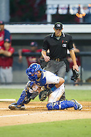 Burlington Royals catcher Chase Vallot (8) blocks a throw at home plate during the game against the Johnson City Cardinals at Burlington Athletic Park on July 14, 2014 in Burlington, North Carolina.  The Cardinals defeated the Royals 9-4.  (Brian Westerholt/Four Seam Images)