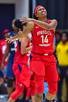 Washington, DC - August 31, 2018: Washington Mystics guard Tierra Ruffin-Pratt (14) is upset about a foul called on her during semi finals playoff game between Atlanta Dream and Wasington Mystics at the Charles Smith Center at George Washington University in Washington, DC. (Photo by Phil Peters/Media Images International)