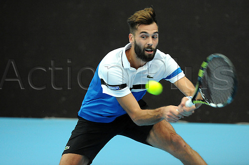 25.10.2016.  St. Jakobshalle, Basel, Switzerland. Basel Swiss Indoors Tennis Championships. Day 2. Benoit Paire in action in his match against Florian Mayer of Germany