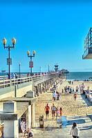 Seal Beach, CA, LA, Beach, Pier, People Walking, Moving, Showing Motion, Oil Platform,