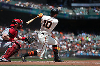 SAN FRANCISCO, CA - MAY 16:  Evan Longoria #10 of the San Francisco Giants bats against the Cincinnati Reds during the game at AT&T Park on Wednesday, May 16, 2018 in San Francisco, California. (Photo by Brad Mangin)