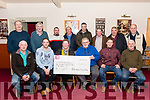 Members of Killorglin Gun Club's Threshing Cancer initiative met on Friday evening in Killorglin's Manor Inn to present the cheque for €4,500 from their recent event.<br /> Front L-R Jim Clifford (Threshing Cancer), James Flynn, Kathleen Breen (Threshing Cancer), Mike O'Shea (Killorglin Gun Club), Kevin Poff & Pat Foley.<br /> Back L-R Pat Shea, Brendan Ferris, Vincent West, John Griffin, James Foley, John West, Dominic O'Flaherty & Jeremy Costello.
