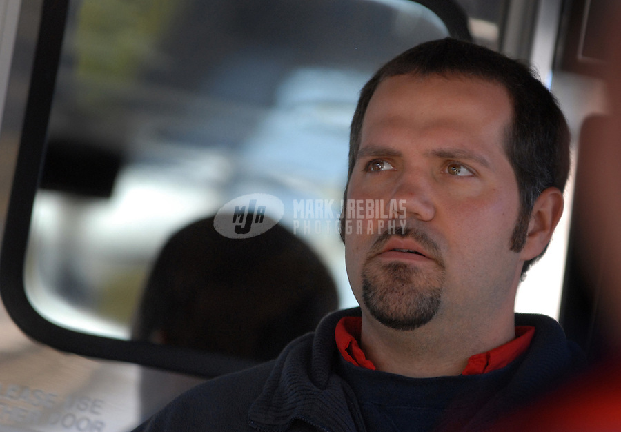 Mar 30, 2007; Martinsville, VA, USA; Darian Grubb crew chief of Nascar Nextel Cup Series driver Casey Mears (25)during practice for the Goody's Cool Orange 500 at Martinsville Speedway. Martinsville marks the second race for the new car of tomorrow. Mandatory Credit: Mark J. Rebilas