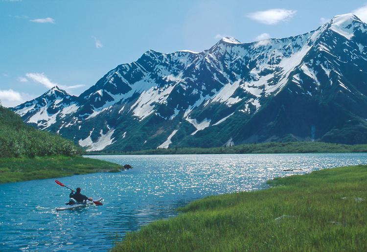 Alaska, Sea Kayaker, Kenai Fjords National Park, Aialik Bay, Pedersen Lagoon, David Fox,.