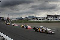 Feb 25, 2007; Fontana, CA, USA; Nascar Nextel Cup Series driver Mark Martin (01) leads a pack of cars during the Auto Club 500 at California Speedway. Mandatory Credit: Mark J. Rebilas