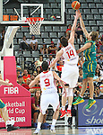 07.09.2014. Barcelona, Spain. 2014 FIBA Basketball World Cup, round of 16. Picture show B. Newley and Ö. Asik in action during game between Turkey   v Australia at Palau St. Jordi