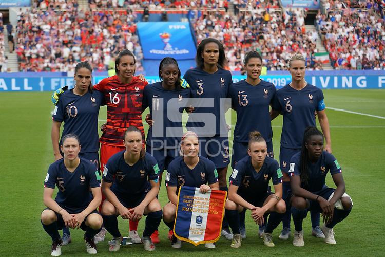 PARIS, FRANCE - JUNE 28: France Starting Eleven prior to a 2019 FIFA Women's World Cup France quarter-final match between France and the United States at Parc des Princes on June 28, 2019 in Paris, France.