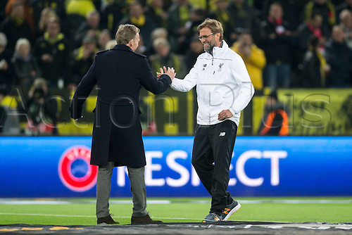 07.04.2016. Dortmund, Germany. Europa League quarterfinal. Borussia Dortmund versus Liverpool FC.  Trainer Juergen Klopp (FC Liverpool) greets new coach Hans-Joachim Watzke (Borussia Dortmund)