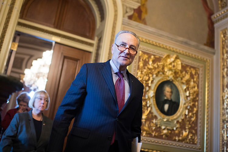UNITED STATES - JANUARY 31: Senate Minority Leader Charles Schumer, D-N.Y., leaves the Senate Policy luncheons in the Capitol, January 31, 2017. (Photo By Tom Williams/CQ Roll Call)