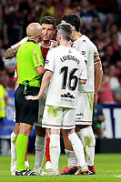 Atletico de Madrid vs Huesca Spanish league football match at Wanda Metropolitano in Madrid on September 25, 2018.<br /> Luisinho argues with referee