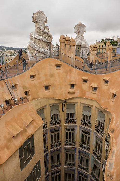 Out of this world, best describes the roof-top architectural design of Gaudi's La Pedrera.