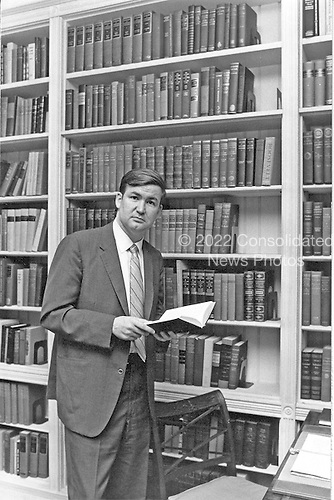 "Patrick J. ""Pat"" Buchanan, Special Assistant to United States President Richard M. Nixon does some research in Washington, D.C. on July 19, 1971..Credit: White House via CNP"