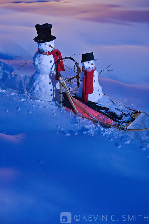 A big and little snowman riding through the snow on a dog mushing sled, twilight, glowing light, Fairbanks, Alaska, USA.