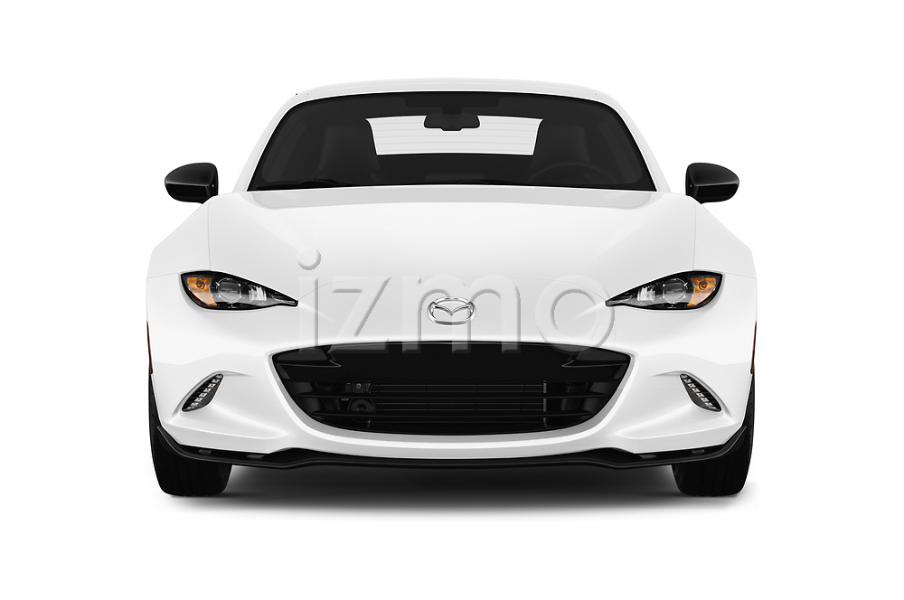 Car photography straight front view of a 2017 Mazda MX-5-RF Club 2 Door Targa Front View