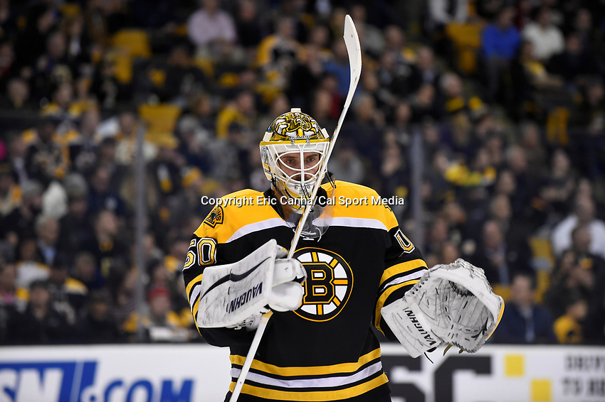 Monday, December 7, 2015: Boston Bruins goalie Jonas Gustavsson (50) during a break in the action at the National Hockey League game between the Nashville Predators and the Boston Bruins held at TD Garden, in Boston, Massachusetts. The Predators defeat the Bruins 3-2 in regulation time. Eric Canha/CSM