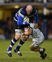 Matt Garvey of Bath Rugby is tackled by Charlie Thacker of Leicester Tigers. Anglo-Welsh Cup match, between Bath Rugby and Leicester Tigers on November 10, 2017 at the Recreation Ground in Bath, England. Photo by: Patrick Khachfe / Onside Images