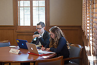 Christopher Weeks '16 and Jemma Parsons '15. Occidental and Scripps College students participate on the final day of The Fullbridge Program's Internship Edge on Jan. 17, 2014 in Dumke Commons of Swan Hall. Students presented their team projects and talked with professionals. The program was hosted by Occidental College in conjunction with Scripps College. 20 students were engaged in the intensive, professionalized, skill-building program which focused on careers in finance, business and entrepreneurship. (Photo by Marc Campos, Occidental College Photographer)