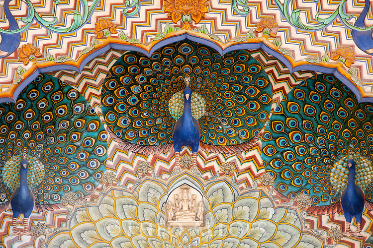 India, Jaipur, Jaipur City Palace, Peacock painting above door