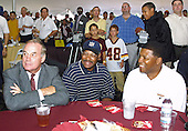 On the eve of the Washington Redskins' final preseason game, the Redskins Alumni Association and the Redskins Development Corporation put on a gala Welcome Home Luncheon at Redskin Park in Ashburn, Virginia on August 28, 2002. More than 500 fans, alumni and supporters attended the picnic style cook out which was held in a huge tent due to needed rain in the drought stricken area. As the rain fell players were honored, signed autographs and a good time was had by all. Redskin Alumni, pictured from left to right: Sam Huff, Hall of Fame linebacker; Bobby Mitchell, Hall of Fame wide receiver; and Brig Owens, defensive back.<br /> Credit: Arnie Sachs / CNP