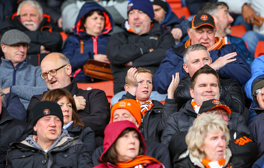 Blackpool fans watch on during the first half<br /> <br /> Photographer Alex Dodd/CameraSport<br /> <br /> The EFL Sky Bet League One - Barnsley v Blackpool - Saturday 27th April 2019 - Oakwell - Barnsley<br /> <br /> World Copyright © 2019 CameraSport. All rights reserved. 43 Linden Ave. Countesthorpe. Leicester. England. LE8 5PG - Tel: +44 (0) 116 277 4147 - admin@camerasport.com - www.camerasport.com