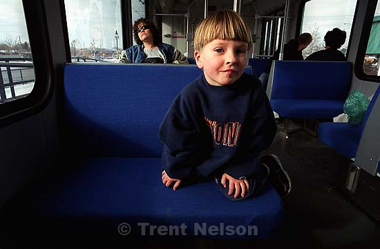 Noah Nelson on our first train ride (Traxx)<br />
