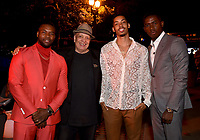 """LOS ANGELES - JULY 08: (L-R) Cast member Amin Joseph, writer Walter Mosley, actor Melvin Gregg and cast member Damson Idris attend the Red Carpet Event for FX's """"Snowfall"""" Season Three Premiere Screening at USC Bovard Auditorium on July 8, 2019 in Los Angeles, California. (Photo by Frank Micelotta/PictureGroup)"""