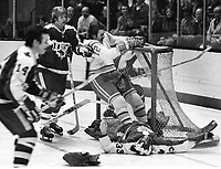 Seals vs. Toronto Maple Leafs..goalie Doug Favell is upended with Seals Butch Williams on top. (1975 photo/Ron Riesterer)
