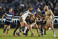 James Wilson of Bath Rugby takes on the Exeter Chiefs defence. Aviva Premiership match, between Bath Rugby and Exeter Chiefs on March 23, 2018 at the Recreation Ground in Bath, England. Photo by: Patrick Khachfe / Onside Images