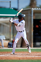 GCL Marlins Tevin Mitchell (4) at bat during a Gulf Coast League game against the GCL Astros on August 8, 2019 at the Roger Dean Chevrolet Stadium Complex in Jupiter, Florida.  GCL Astros defeated GCL Marlins 4-2.  (Mike Janes/Four Seam Images)