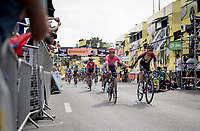 Egan Bernal Gomez (COL/Ineos) thanking Rigoberto Uran (COL/EF EducationFirst) while crossing the finish line together in a 2nd group (after a crash split the peloton in the race finale)<br /> <br /> Stage 1: Brussels to Brussels(BEL/192km) 106th Tour de France 2019 (2.UWT)<br /> <br /> ©kramon