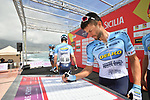 Delko Marseilles Provence KTM at sign on before the start of Stage 4 of Il Giro di Sicilia 2019 running 119km from Giardini Naxos to Mount Etna (Nicolosi), Italy. 6th April 2019.<br /> Picture: LaPresse/Massimo Paolone | Cyclefile<br /> <br /> All photos usage must carry mandatory copyright credit (&copy; Cyclefile | LaPresse/Massimo Paolone)