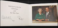 BNPS.co.uk (01202 558833)<br /> Pic: MooreAllen&amp;Innocent/BNPS<br /> <br /> The Queen and Philip's 1997 card.<br /> <br /> A comprehensive collection of Christmas cards sent by the Queen and Prince Philip over a 30 year period have emerged to highlight the fascinating changes of the Royal Family.<br /> <br /> The 31 greetings cards carry various images of the Royal couple on the front along with different members of their family.<br /> <br /> They were sent every year without fail from 1971 through to 2001 to the unnamed recipient, who was clearly an acquaintance of the Queen.<br /> <br /> The first card features a formal photograph of the Queen, the Duke of Edinburgh, a 23-year-old Prince Charles, Princess Anne, Prince Andrew, aged 11 and seven-year-old Prince Edward.<br /> <br /> They are being sold in Cirencester on Friday.