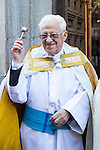 Padre Angel at San Anton church in Madrid marking San Anton Abad's Day (Saint Anthony), on January 17, 2016. Pet animals, many dressed in their finest, trooped into churches across Spain in search of blessing on the patron saint of animals Saint Anthony's Day.  (ALTERPHOTOS/Rodrigo Jimenez)