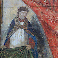Fresco of a priest holding a curtain, from the funerary monument of Ferry de Beauvoir, died 1473, Catholic prelate and 64th bishop of Amiens 1457-73, made 1490, in the South side of the choir, South ambulatory, in the Basilique Cathedrale Notre-Dame d'Amiens or Cathedral Basilica of Our Lady of Amiens, built 1220-70 in Gothic style, Amiens, Picardy, France. Amiens Cathedral was listed as a UNESCO World Heritage Site in 1981. Picture by Manuel Cohen