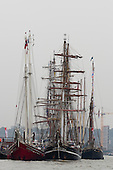 London, UK. 6 September 2014. Tall ships at the Greenwich Peninsula pier. Tall Ships sailing on the River Thames on the second day of the Royal Greenwich Tall Ships Festival 2014.