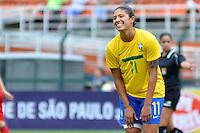 ATENÇÃO EDITOR FOTO EMBARGADA PARA VEÍCULOS INTERNACIONAIS - SAO PAULO, SP, 09 DE DEZEMBRO DE 2012 - TORNEIO INTERNACIONAL CIDADE DE SÃO PAULO - BRASIL x PORTUGAL: Cristiane durante partida Brasil x Portugal, válido pelo Torneio Internacional Cidade de São Paulo de Futebol Feminino, realizado no estádio do Pacaembú em São PauloFOTO: LEVI BIANCO - BRAZIL PHOTO PRESS