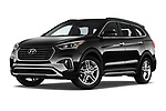 Stock pictures of low aggressive front three quarter view of a 2019 Hyundai Santa FE XL Limited Ultimate 5 Door SUV