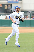 Joey Curletta (44) of the Rancho Cucamonga Quakes returns to the dudout during a game against the Visalia Rawhide at LoanMart Field on May 6, 2015 in Rancho Cucamonga, California. Visalia defeated Rancho Cucamonga, 7-2. (Larry Goren/Four Seam Images)