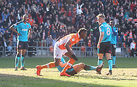 Blackpool's Armand Gnanduillet celebrates scoring his sides second goal <br /> <br /> Photographer Mick Walker/CameraSport<br /> <br /> The EFL Sky Bet League One - Blackpool v Fleetwood Town - Saturday 14th April 2018 - Bloomfield Road - Blackpool<br /> <br /> World Copyright &copy; 2018 CameraSport. All rights reserved. 43 Linden Ave. Countesthorpe. Leicester. England. LE8 5PG - Tel: +44 (0) 116 277 4147 - admin@camerasport.com - www.camerasport.com