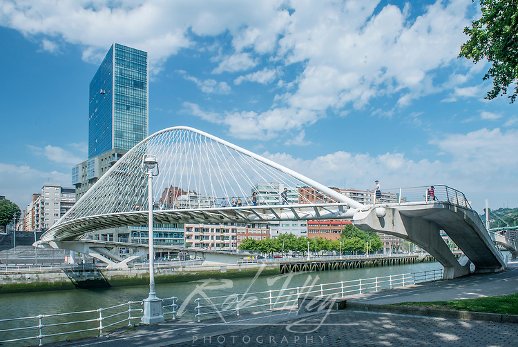 Spain, Bilbao, Zubizuri (Campo Volatin ) Bridge Over the Nervion River