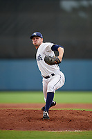 Charlotte Stone Crabs pitcher Simon Rosenblum-Larson (28) during a Florida State League game against the Bradenton Maruaders on August 7, 2019 at Charlotte Sports Park in Port Charlotte, Florida.  Charlotte defeated Bradenton 3-2 in the second game of a doubleheader.  (Mike Janes/Four Seam Images)