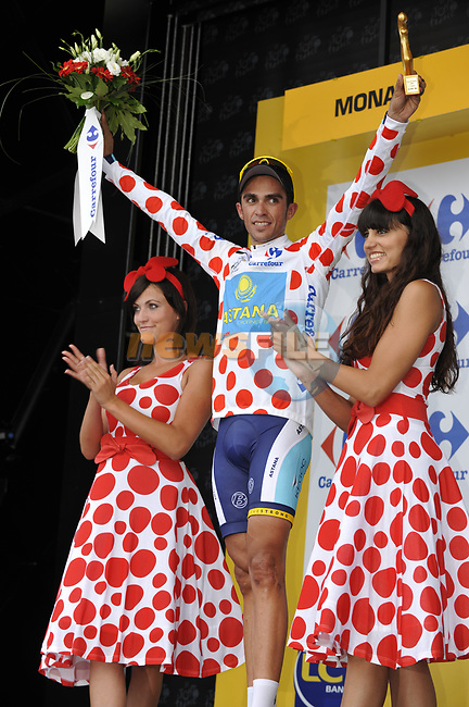 Astana team rider Alberto Contador (ESP) takes the first King of Mountains Polka Dot Jersey on the podium at the end of the Prologue Stage 1 of the 2009 Tour de France a 15.5km individual time trial held around Monaco. 4th July 2009 (Photo by Eoin Clarke/NEWSFILE)