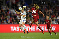 Orlando City, FL - Wednesday March 07, 2018: Izzy Christiansen, Allie Long during a 2018 SheBelieves Cup match between the women's national teams of the United States (USA) and England (ENG) at Orlando City Stadium.