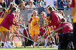 Los Angeles, CA 02/09/13 - Caroline Cordrey (USC #15) takes the field for USC's inaugural game against Northwestern.