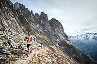 Trail running in the rugged, rocky landscape of the Salbit, Switzerland.